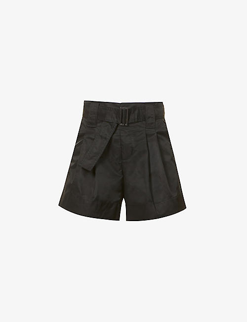 GANNI: Belted high-rise recycled-polyamide shorts