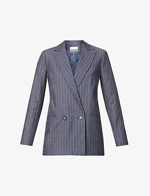 GANNI: Striped double-breasted woven blazer