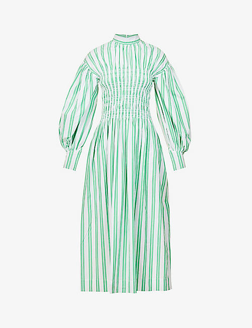 GANNI: Striped organic cotton-poplin midi dress