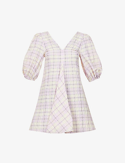GANNI: Checked organic cotton and recycled polyester-blend mini dress