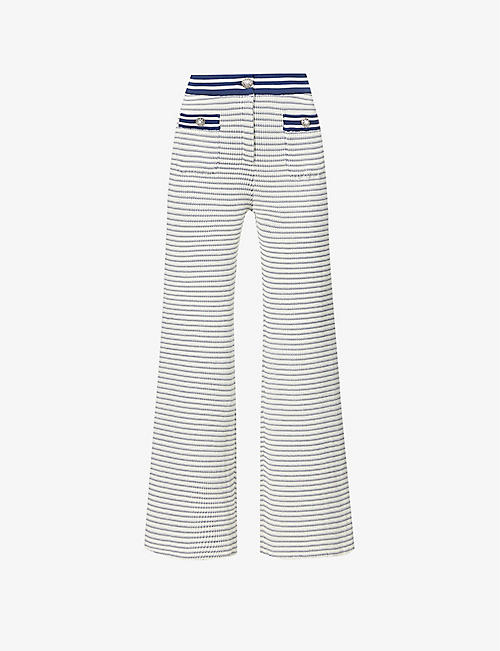 ALESSANDRA RICH: Stripe-print flared high-rise cotton-blend trousers