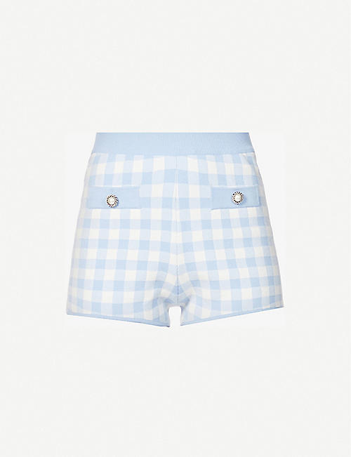 ALESSANDRA RICH: Gingham high-rise knitted shorts