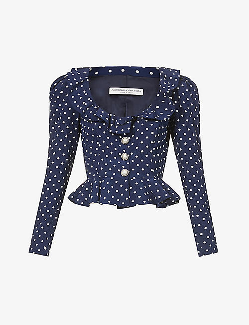ALESSANDRA RICH: Padded shoulders polka-dot silk blouse