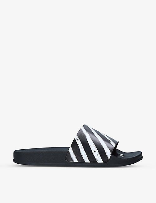 OFF-WHITE C/O VIRGIL ABLOH: Diagonal-stripe rubber sliders