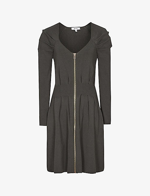 REISS: McKenzie zip-front stretch-knit mini dress