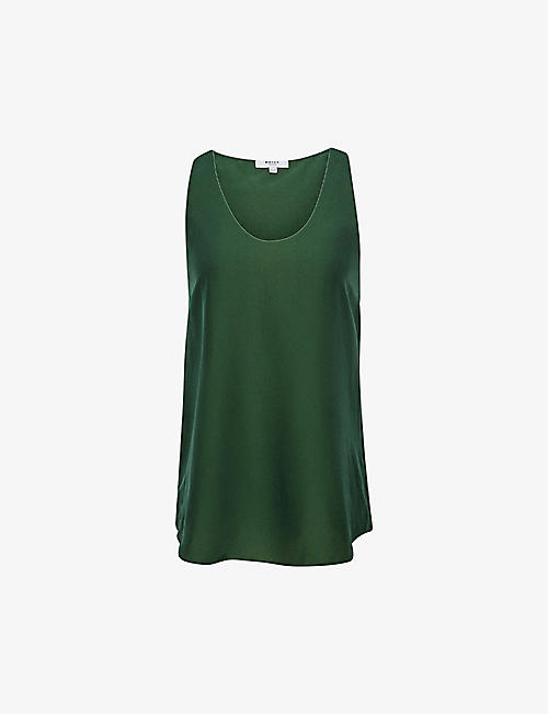 REISS: Avah racerback silk-blend top