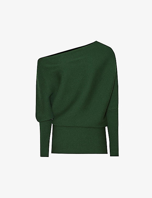 REISS: Lorna asymmetric-neck stretch-knit top