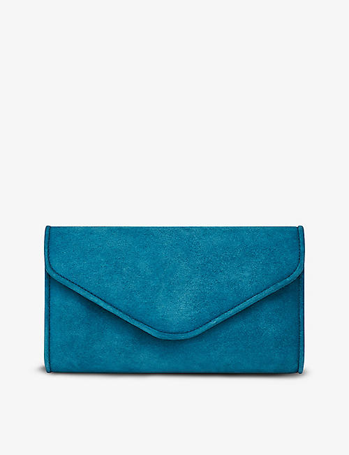LK BENNETT: Dominica suede-leather clutch bag