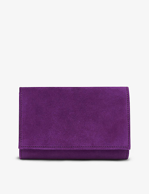 LK BENNETT: Danni suede-leather clutch bag