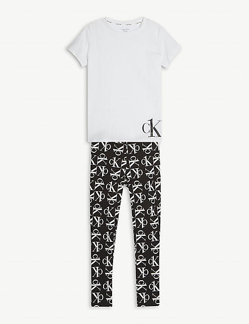 CALVIN KLEIN: Logo-print cotton-blend pyjama set 8-14 years