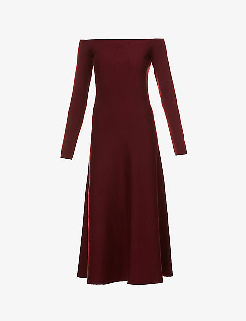 GABRIELA HEARST: Gurshka bardot-neckline cashmere and silk-blend midi dress