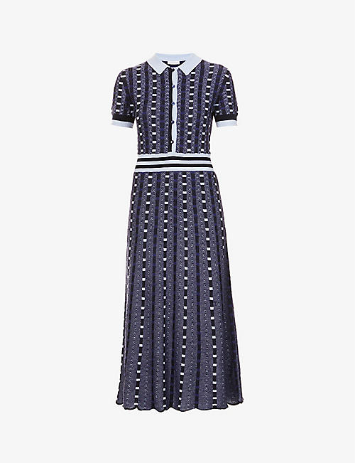 GABRIELA HEARST: Elvis geometric-pattern cashmere-silk blend midi dress