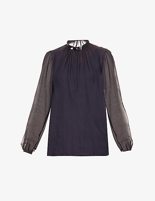 GABRIELA HEARST: Vlychos semi-sheer cotton-silk blend top