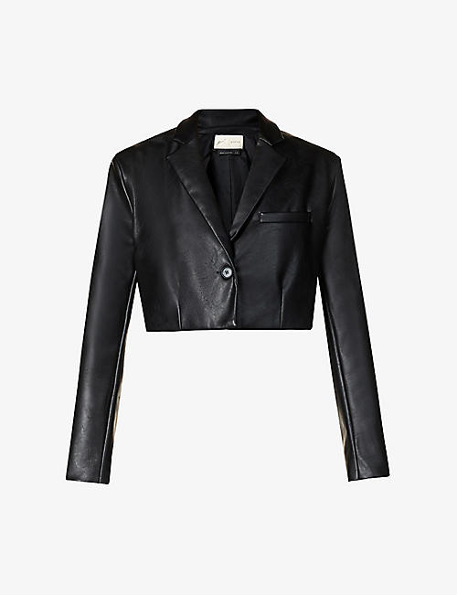 PREVU: Aurora single-breasted cropped faux-leather blazer