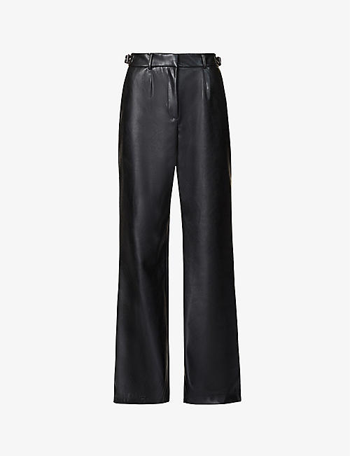PREVU: Aurora wide-leg high-rise faux-leather trousers