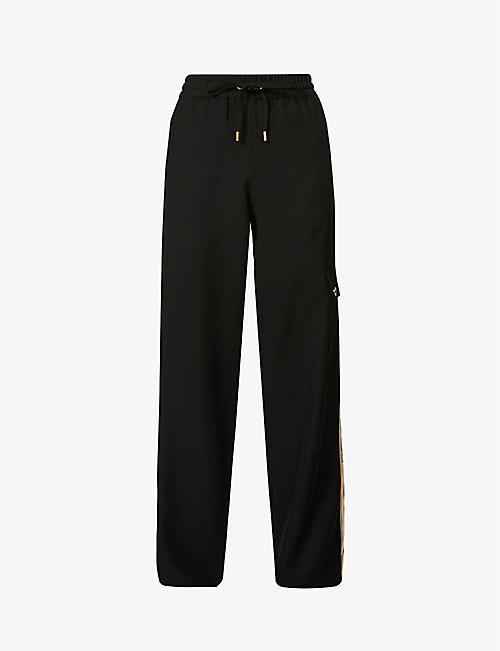 ME AND EM: Stripe-side wide-leg high-rise stretch-woven trousers