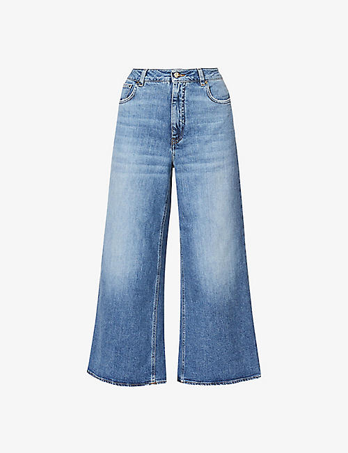 ME AND EM: Faded wide-leg mid-rise stretch-denim jeans