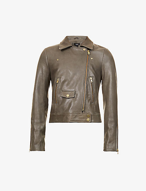 ME AND EM: Cropped leather biker jacket