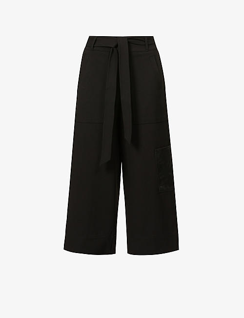 ME AND EM: Wide-leg high-rise stretch-woven trousers