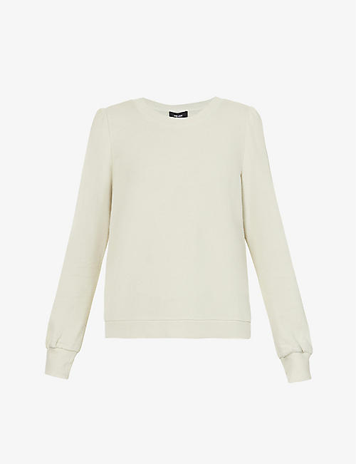 ME AND EM: Puff-shoulder cotton-blend jersey sweatshirt