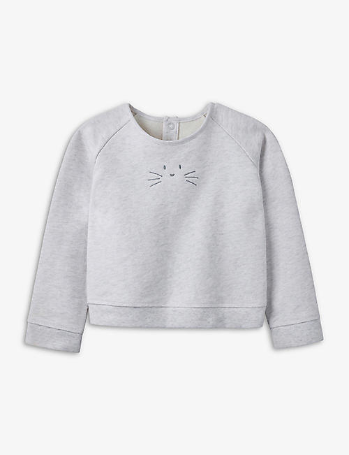 THE LITTLE WHITE COMPANY: Graphic-print relaxed-fit cotton sweatshirt 1-6 years