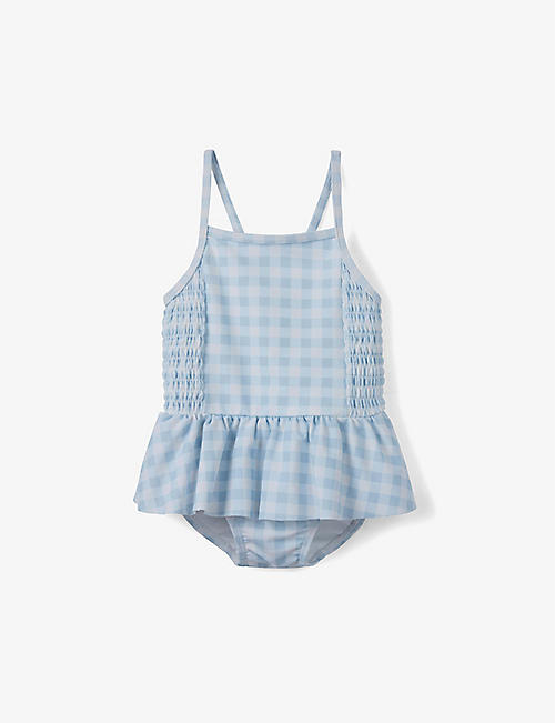 THE LITTLE WHITE COMPANY: Gingham stretch-woven swimsuit 0-24 months