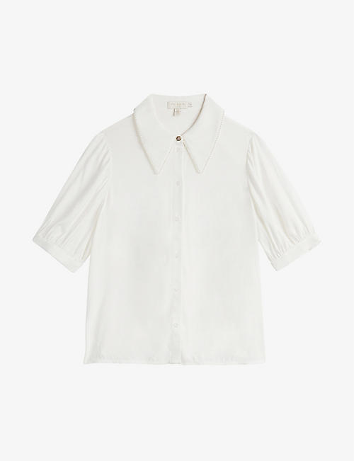 TED BAKER: Guiliaa faux pearl-trimmed woven shirt