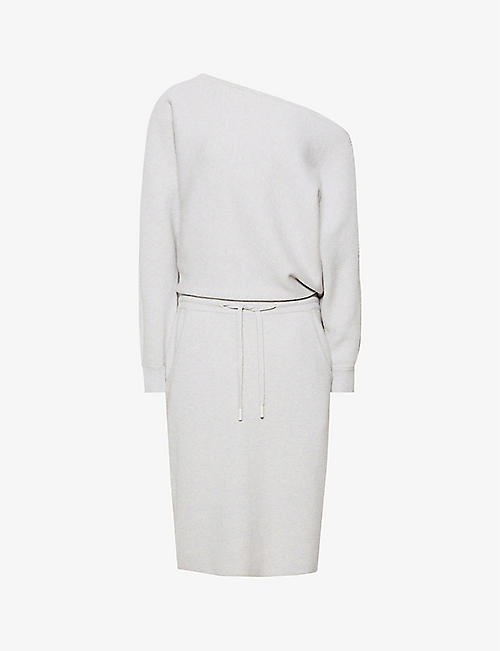 REISS: Amara off-the-shoulder knitted midi dress