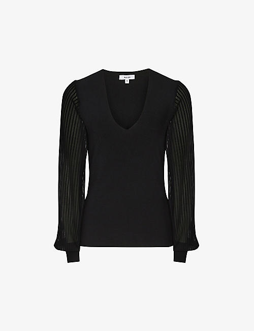 REISS: Savannah V-neck knitted top