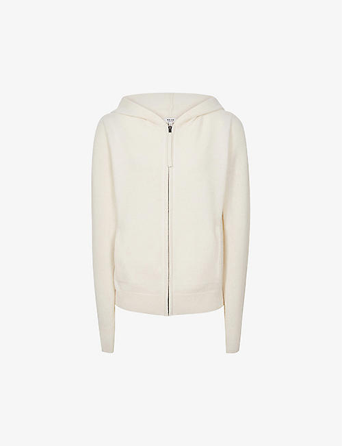 REISS: Khloe zip-up wool and cashmere-blend hoody