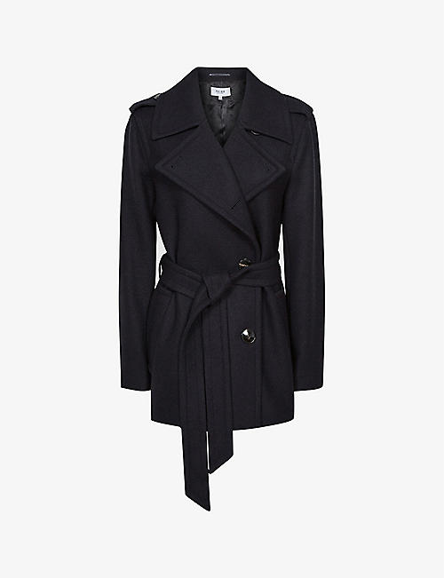REISS: Sia double-breasted belted wool-blend coat