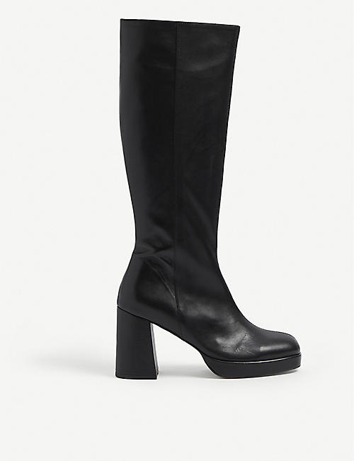 MUSIER PARIS: Square-toe platform leather knee-high boots