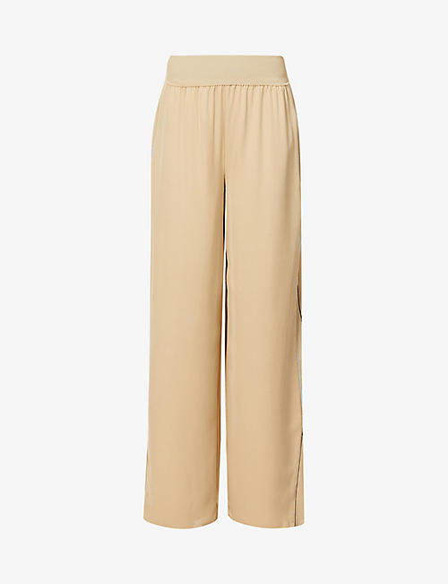 THEORY: Wide-leg high-rise silk trousers