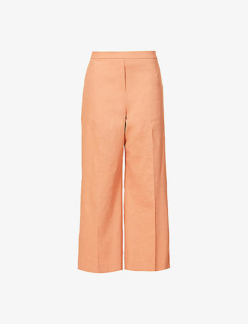 THEORY: Wide-leg high-rise linen-blend trousers