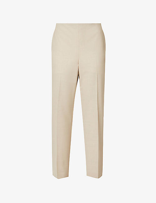 THEORY: Treeca tapered high-rise stretch-wool trousers