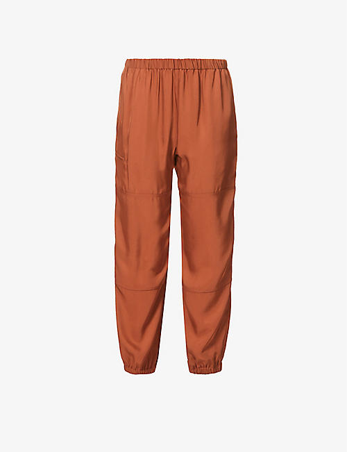 THEORY: Tapered high-rise stretch-woven cargo trousers