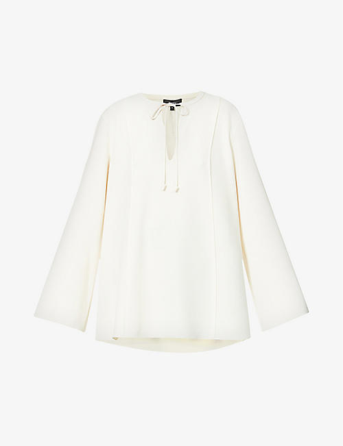 THEORY: Tie-neck cut-out detail crepe blouse