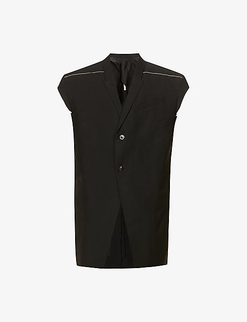 RICK OWENS: Jumbo Tatlin sleeveless wool- and mohair-blend blazer