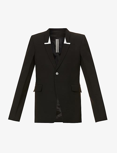 RICK OWENS: Padded-shoulder single-breasted wool-blend blazer