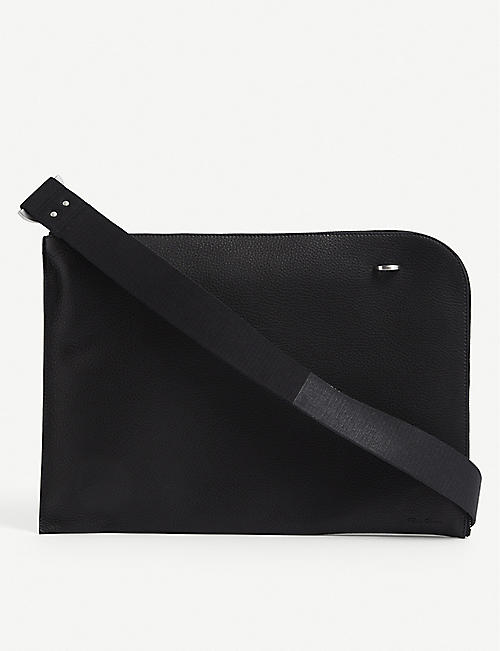RICK OWENS: Brand-embossed large leather pouch bag