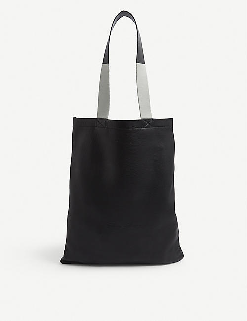 RICK OWENS: Brand-embossed small leather tote bag