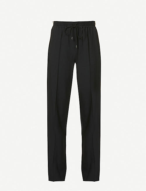 CHLOE: Striped tapered high-rise crepe trousers