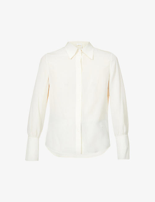 CHLOE: Logo-embroidered crepe de chine shirt