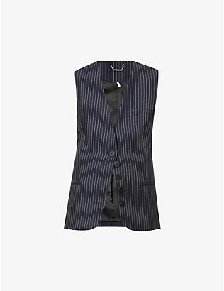 CHLOE: Pinstripe single-breasted wool waistcoat
