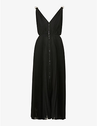 CHLOE: V-neck pleated silk-crepe midi dress