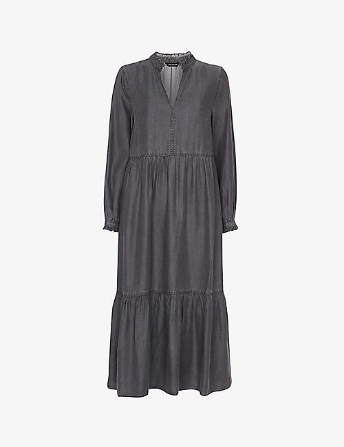 WHISTLES: Ruffle-trimmed loose-fit woven midi dress