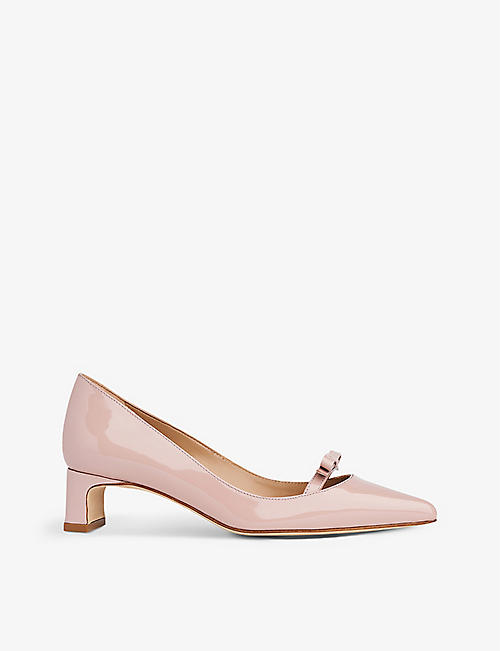 LK BENNETT: Faith bow-embellished leather heeled courts