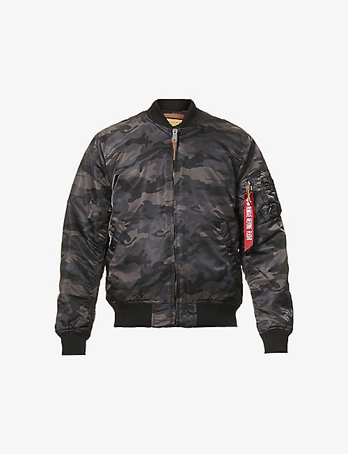 ALPHA INDUSTRIES: MA-1 camouflage-pattern branded-pull shell jacket