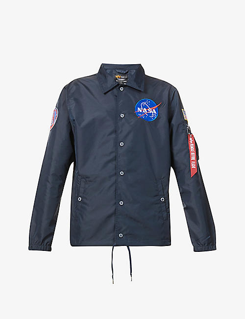 ALPHA INDUSTRIES: Nasa logo-print shell jacket