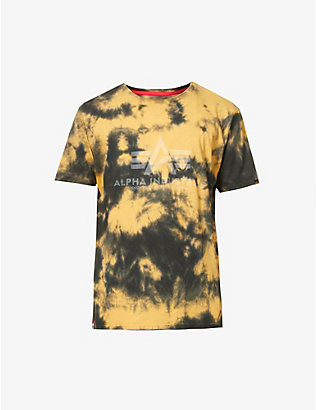 ALPHA INDUSTRIES: Logo-print batik-print cotton-jersey T-shirt